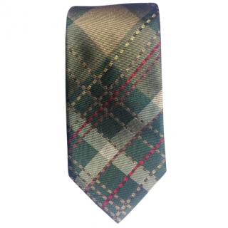 Paul Smith Green Tartan Patterned Skinny Silk Tie BNWT