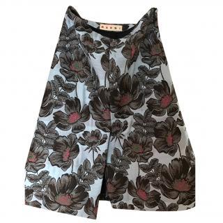 Marni brocade floral skirt
