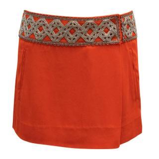 Isabel Marant Red Beaded Mini Skirt