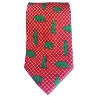 Fabio Ferretti Red Yellow Checks With Bears Pattern Silk Tie