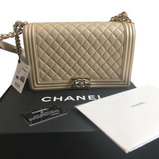 Chanel Large Gold Caviar Boy Bag
