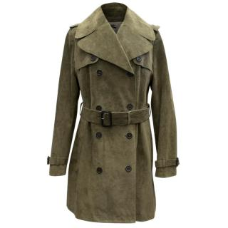 Burberry Khaki Suede Trench Coat