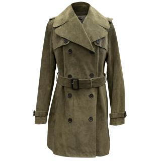 Burberry Khaki Suede Trench Coat