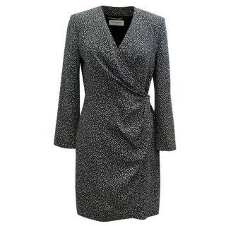 Saint Laurent Black and White Pattern Wrap Dress