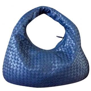 Bottega Veneta Blue Medium Intrecciato Shoulder Bag