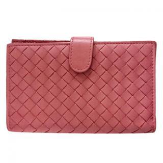 Bottega Veneta Pink Woven Leather Wallet