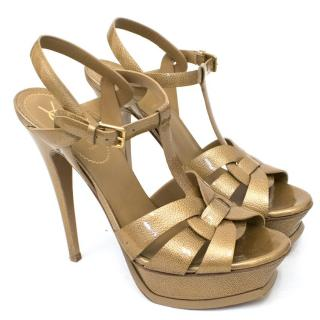 Yves Saint Laurent Gold Patent Tribute Sandals