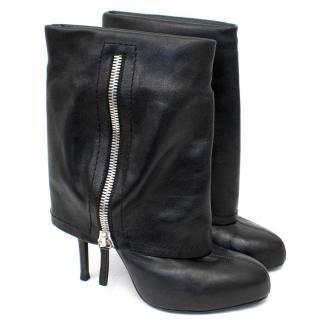 Giuseppe Zanotti Black Leather Foldover Ankle Boots