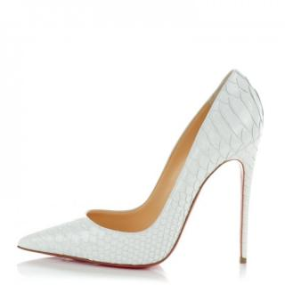 NEW Christian Louboutin So Kate 120 Python Crystal White Heels, UK 4