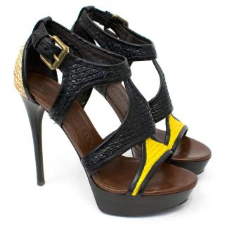 Burberry Prorsum Black Raffia And Patent Sandals