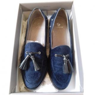 Hudson Ladies Blue Velvet Loafers With Tassells Size 6 UK (39)