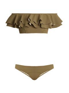 Lisa Marie Fernandez 'Mira' ruffled Khaki Bikini