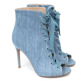 Gianvito Rossi Lace-Up Denim Ankle Boots