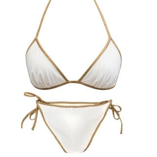 Tooshie Cream Bikini With Gold Trim