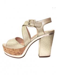 Miu Miu Metallic Leather Sandals