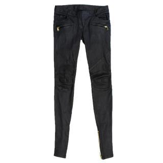 Balmain Black Zipped Ankle Leather Pants