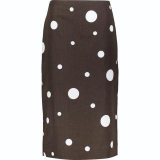 Marni cotton-linen blend polkadot pencil skirt