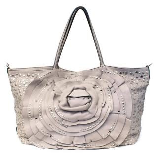 Valentino Studded Grey Flower Tote
