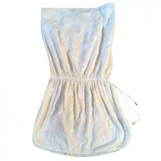MELISSA ODABASH cream cotton white embroidered strapless beach dress