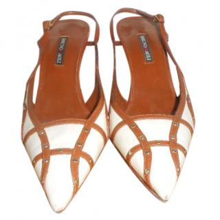 Bruno Magli cream/tan heels