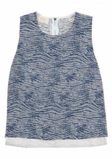 BA&SH 'Andrew' viscose & cotton blue & white textured top