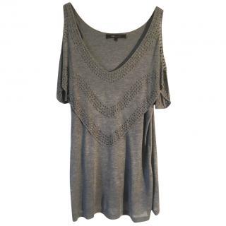 BCBGMAXAZRIA 100% modal grey exposed shoulder studded top