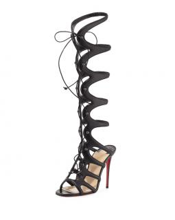 Christian Louboutin Amazoulo Knee High Cage Boots 100mm