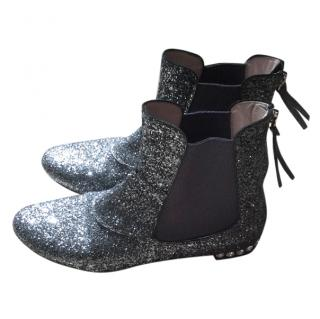 Miu Miu  silver grey glitter Chelsea boots