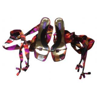 Pucci silk tie sandals