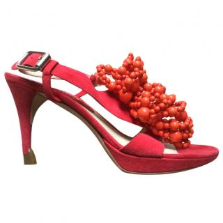 Celine red suede sandals