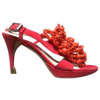 Celine red suede sandals