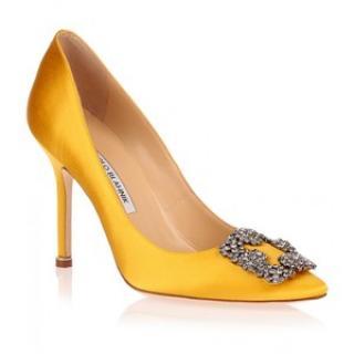 Manolo Blahnik Yellow Hangisi Heels