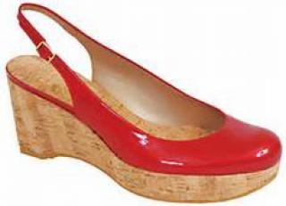 Stuart Weitzman red platform wedge sling back pump shoes 36.5