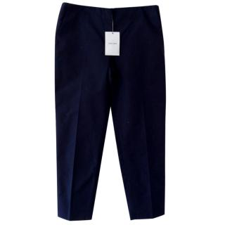New Miu Miu navy blue tailored tapered suit smart trousers