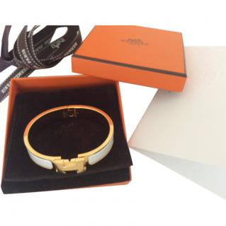 NEW Hermes Clic Clac White and gold PM w receipt