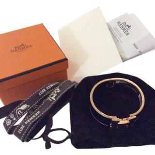 Hermes Clic Clac wide PM Black & Rose Gold w receipt