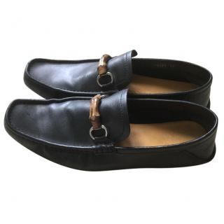 Gucci men's black leather loafers