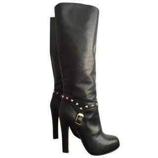 VALENTINO Rockstud Platform Black Tall Knee Booties UK 4 EU 37