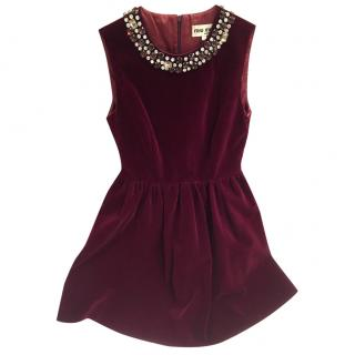 Miu Miu red velvet velour burgundy dress