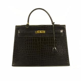Vintage Hermes Kelly 35 Black Crocodile Leather Gold Hardware Stamp T