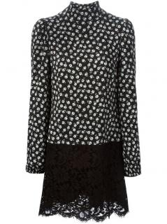 DOLCE & GABANNA Black And White Floral Lace Print Dress