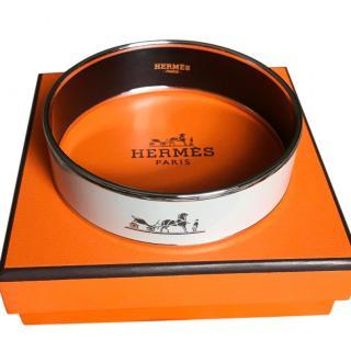 Hermes Light Grey  Enamel Bangle
