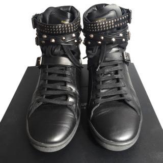 Saint Laurent Studded Triple-Buckle High-Top Sneakers