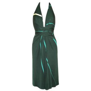 ISSA green print silk dress