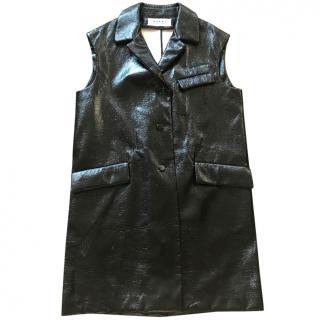 Marni Black Patent Leather Vest Coat