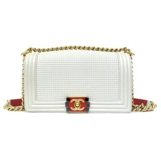 Chanel Cream Cube Embossed Boy Bag