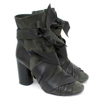 Isabel Marant Black Azel Leather And Suede Ankle Boots