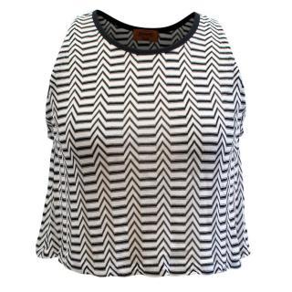 Missoni Black and White Striped Crop Top
