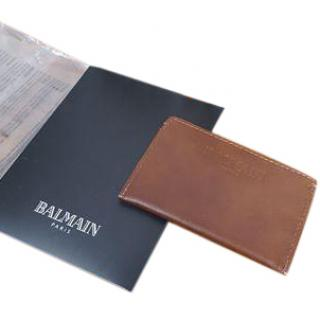 Balmain Tan Brown Leather Card Holder