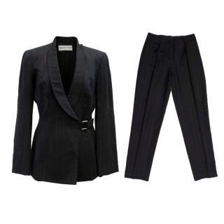 Mugler Black Wool with Red Pinstripe Suit Set